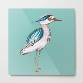 Funny blue heron Metal Print