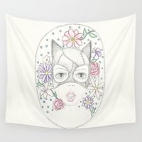 birdy Wall Tapestries featuring Catwoman and the Birdy by Lisa Bulpin