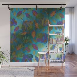Ginkgo Leaves Under Water Wall Mural