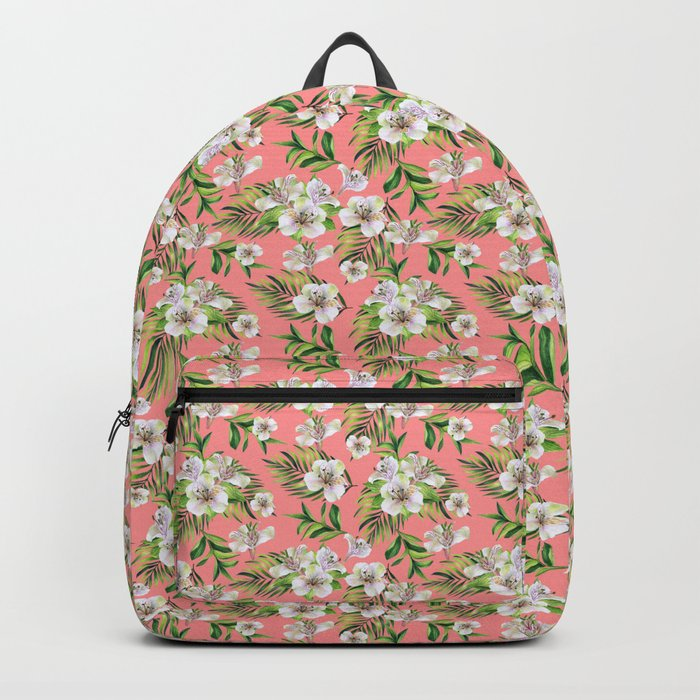 White flowers on a pink background Backpack