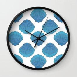 Blue Seashell Mosaic Pattern Wall Clock