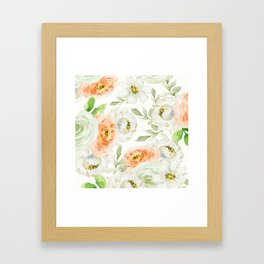 Big Peach and White Flowers Framed Art Print