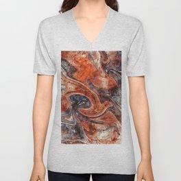 Orange marble watercolor Unisex V-Neck
