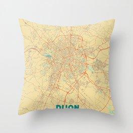Dijon Map Retro Throw Pillow
