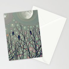A Dawning with black birds lights on bare branches stars and gibbous moon  Stationery Cards