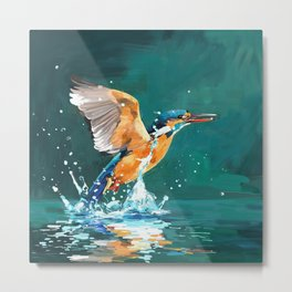Oil painting kingfisher Metal Print