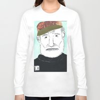 hemingway Long Sleeve T-shirts featuring Ernest Hemingway with a Hat by DestructionPischke