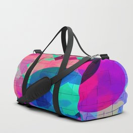 geometric square pixel and circle pattern abstract in pink blue green Duffle Bag