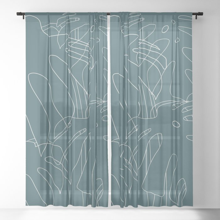 Monstera No2 Teal Sheer Curtain