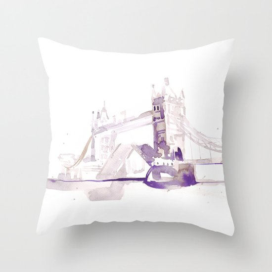 Watercolor landscape illustration_London Bridge Throw Pillow