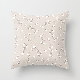 Cotton floral seamless pattern in pastel colors. Throw Pillow
