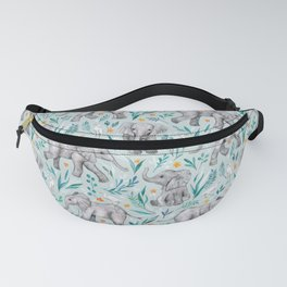 Baby Elephants and Egrets in Watercolor - egg shell blue Fanny Pack