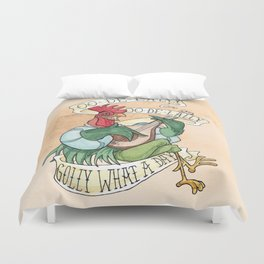 Alan-A-Dale Rooster : OO-De-Lally Golly What A Day Tattoo Watercolor Painting Duvet Cover