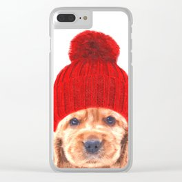 Cocker spaniel puppy with hat Clear iPhone Case