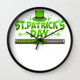 St. Patrick's Day Loading Funny St Patrick's Day Tee Wall Clock