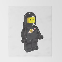 Vintage Black Spaceman Minifig Throw Blanket