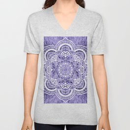 Mandala Lavender Colorburst Unisex V-Neck