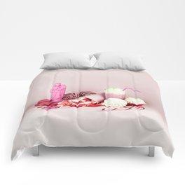 Sweet pink doom - still life Comforters