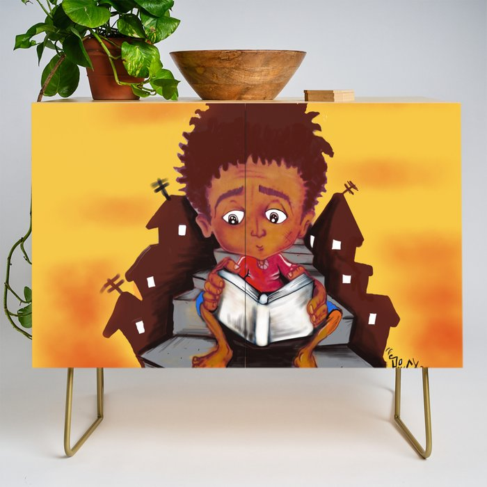 education_is_the_solution_Credenza_by_Guilherme_da_Silva__Gold__Birch