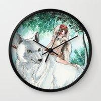 princess mononoke Wall Clocks featuring Princess Mononoke by VivianLohArts