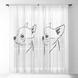 Chihuahua (Black and White) Sheer Curtain