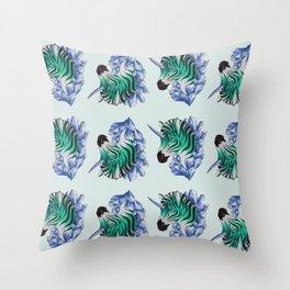 Aqua Zebracorn Throw Pillow