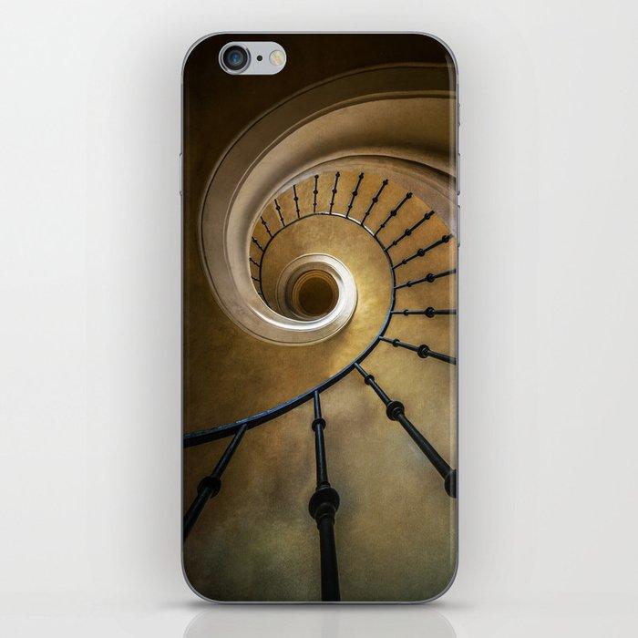 Golden spiral staircase iPhone Skin