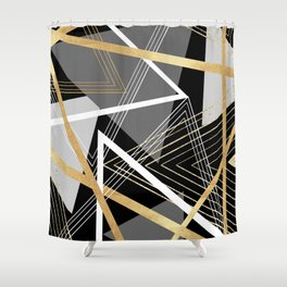 Original Gray and Gold Abstract Geometric Shower Curtain