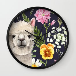 Wildflower Alpaca Wall Clock