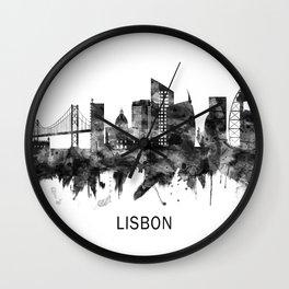 Lisbon Portugal Skyline BW Wall Clock