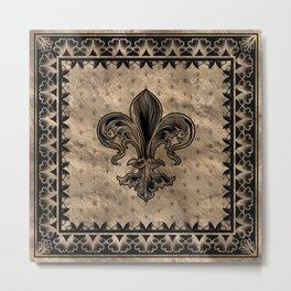 Fleur-de-lis - Black and Gold Metal Print
