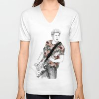 niall V-neck T-shirts featuring Floral Niall by Coconut Wishes
