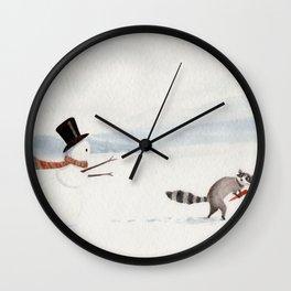 Snowman and Raccoon Wall Clock