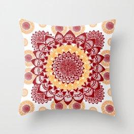 Light Orange and Maroon Mandalas Throw Pillow