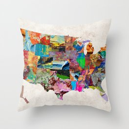 USA Map Throw Pillow