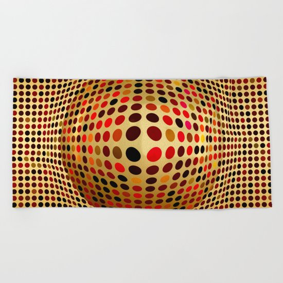 Ball illusion art Beach Towel