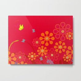 Butterflies & blooms Metal Print