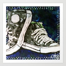 High Top Tennis Sports Gym Shoe, High-Tops Iconic Converse Style Art Print