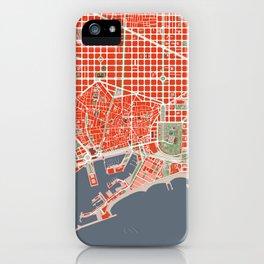 Barcelona city map classic iPhone Case