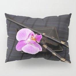Zen pink Orchid flower on black Pillow Sham