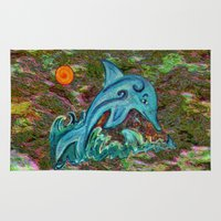 dolphin Area & Throw Rugs featuring Dolphin by gretzky