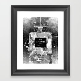 No 5 Black and White Framed Art Print