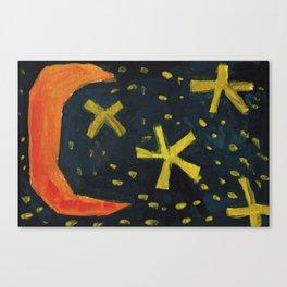 Squareland - moon and stars Canvas Print