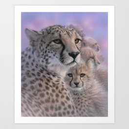 Cheetah Mother and Cubs - Mothers Love Art Print