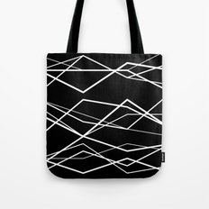 B/W geometric pattern (waves) Tote Bag