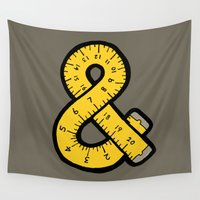 tape Wall Tapestries featuring Ampersand Measuring Tape by evannave