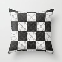 chess Throw Pillows featuring Chess by FYLLAYTA, surface design,Tina Olsson