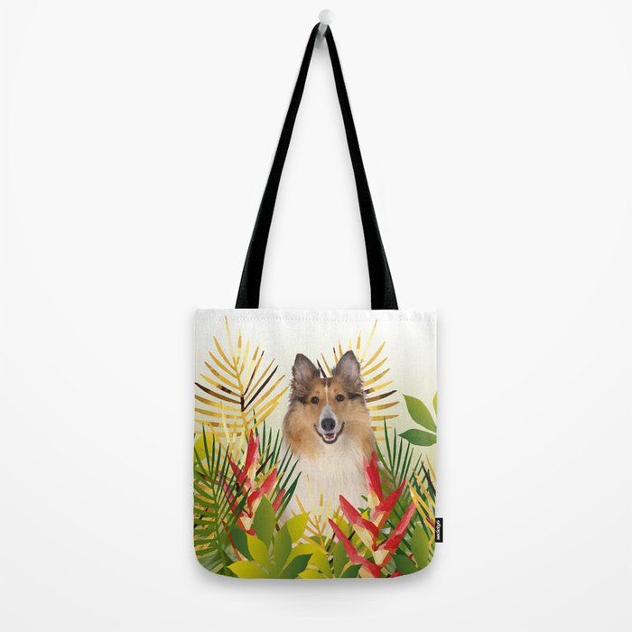 Collie Dog sitting in Garden Tote Bag