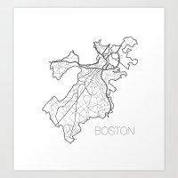 boston Art Prints featuring Boston by linnydrez