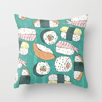 sushi Throw Pillows featuring Sushi by Abi Woodhouse